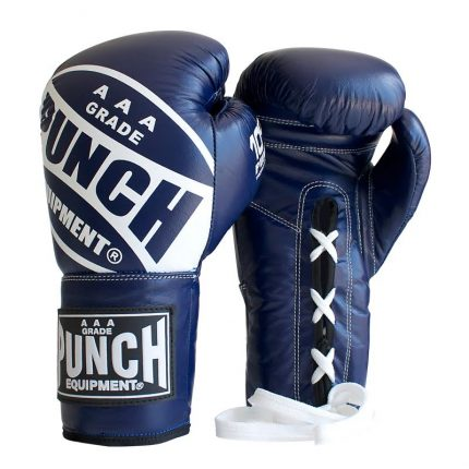 Lace Up Fighting Gloves Blue