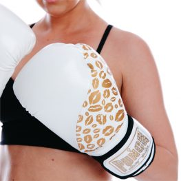 Womens Boxing Gloves White Gold Lips1