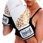 Gold White Lips Women Glove