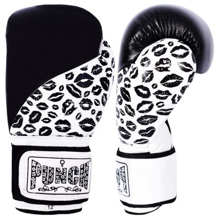 Womens Boxing Gloves Black White Lip Art