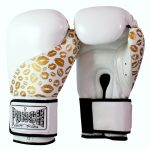 Womens White Gold Lips Boxing Gloves