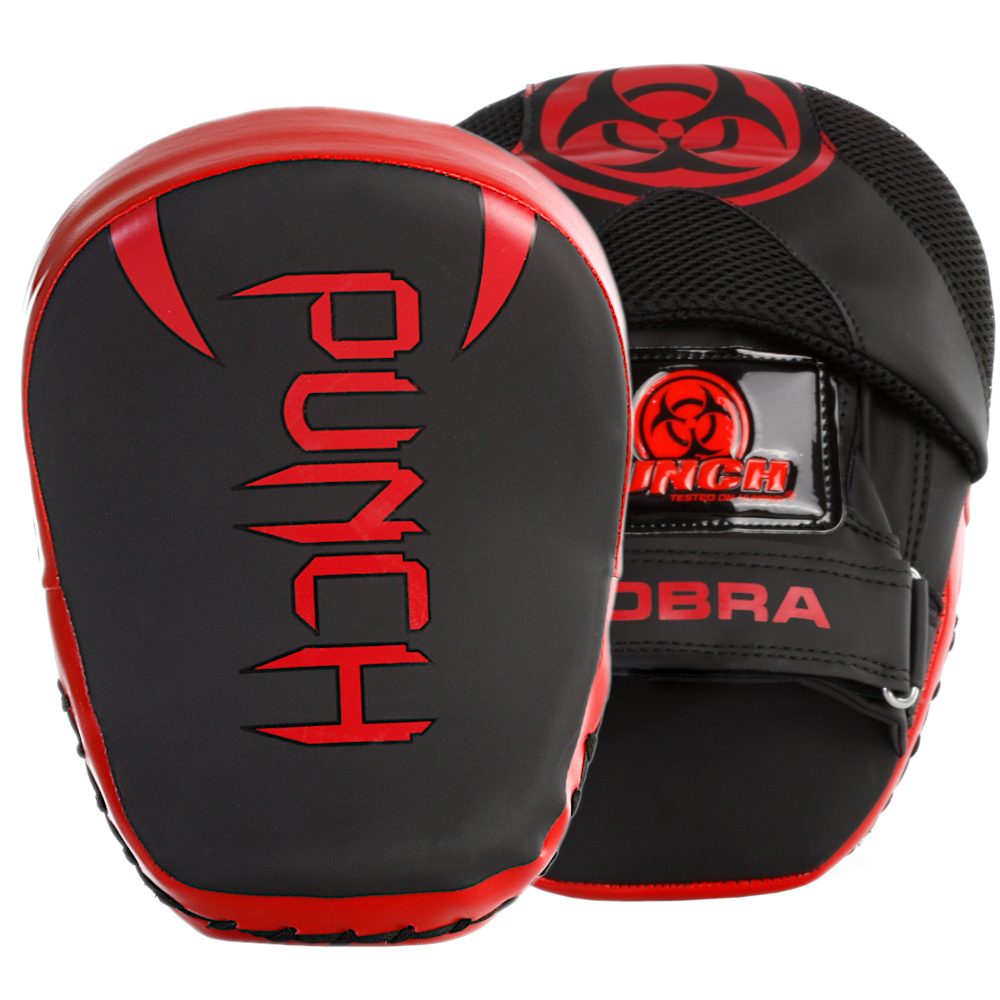 Front and back profile of the Urban Cobra Focus Pads in black and red