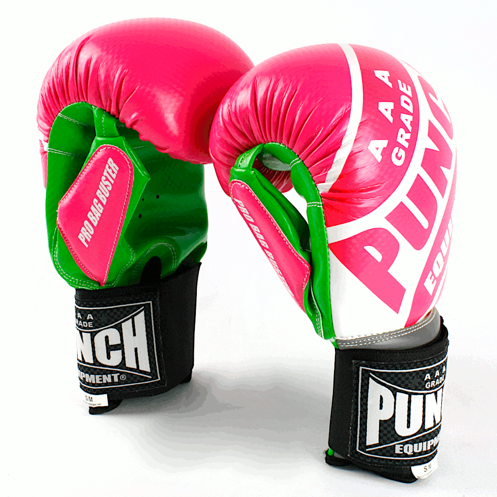 Pro Bag Busters Boxing Mitts Pink Green 2